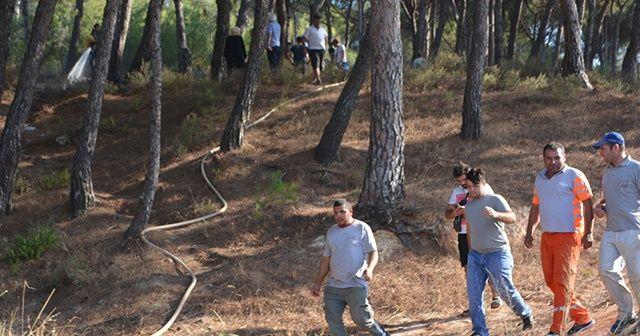 Çıkan orman yangınında vatandaşlar etten duvar ördü