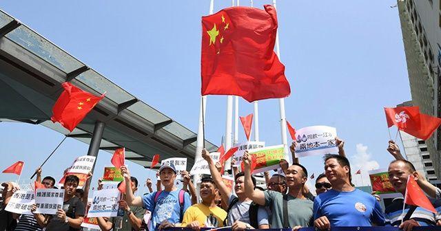 Hong Kong'da Çin yanlıları gösteri düzenledi