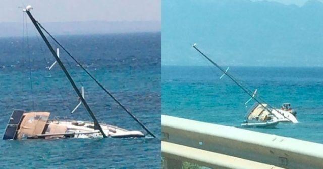 Tekne sulara gömüldü, 2 kişi son anda kurtuldu