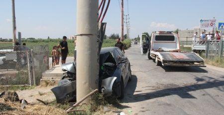 Otomobil beton direğe çarptı: 1 ölü, 2 yaralı