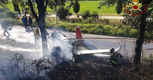 İtalya'da tek motorlu uçak düştü: 1 ölü, 3 yaralı