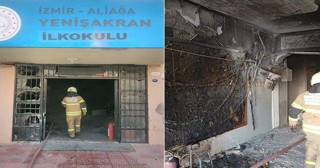 İzmir'de ilkokulda yangın