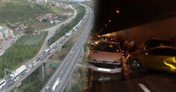 TEM otoyolunda kaza sonrası yoğun trafik!
