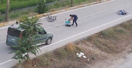Motosiklet sürücüsü çarptığı bisikletli çocuğu bırakıp kaçtı