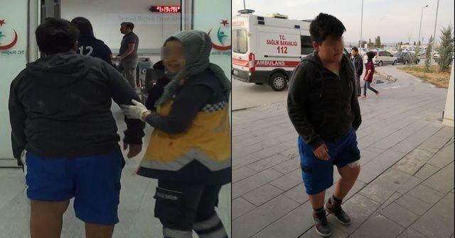 Bacağından bıçaklanan çocuğu yürüterek acile götürdü
