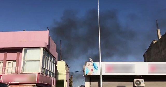 Ceylanpınar'da roket düşen evde yangın çıktı
