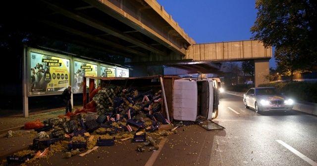 Devrilen kamyondaki meyve ve sebzeler yola döküldü