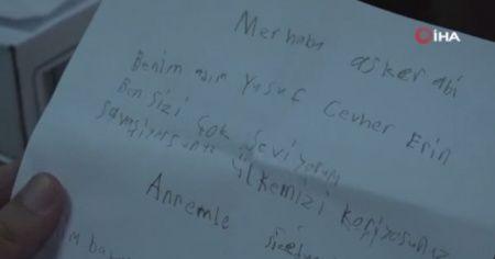 Barış Pınarı Harekatı'nda görevde olan askerlere şehit çocuğundan mektup