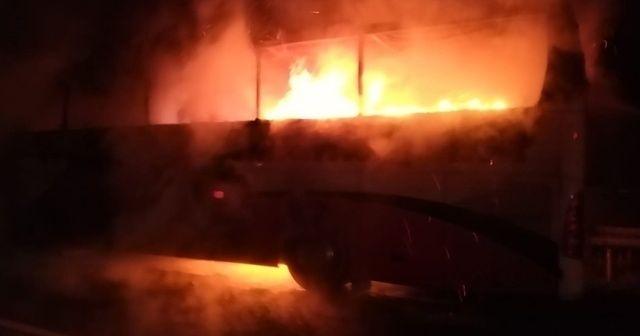 Yolcu otobüsü alev alev yandı! Faciadan dönüldü