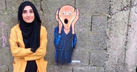 Duvarlar Elif'in elleriyle hayat buluyor