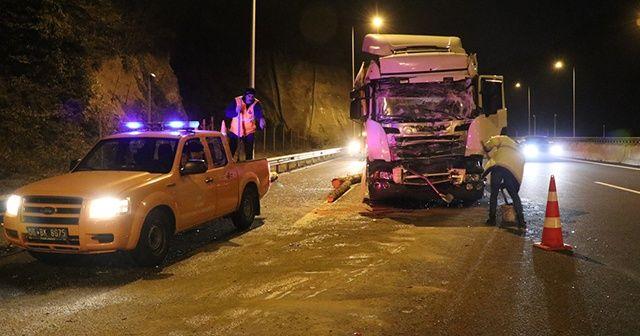 Anadolu Otoyolu'nda tomruk yüklü tır kamyonla çarpıştı