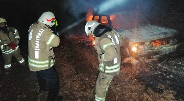 İstanbul'da ormanlık alanda araç yangını