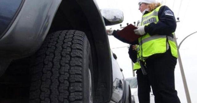 Kış lastiği takmayan 1742 araca bir haftada 1 milyon liralık ceza kesildi