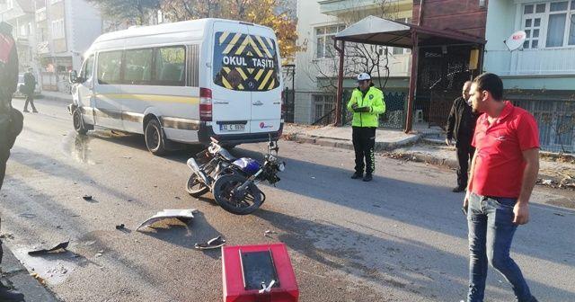 Okul taşıtının çarptığı motosikletin sürücüsü öldü