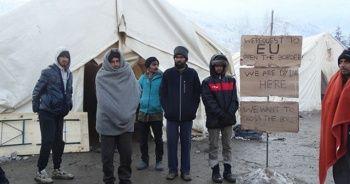AB sınırındaki göçmenler açlık grevi başlattı