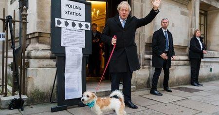 Boris Johnson sandık başına köpeğiyle gitti