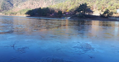 Göl yüzeyi buz tuttu