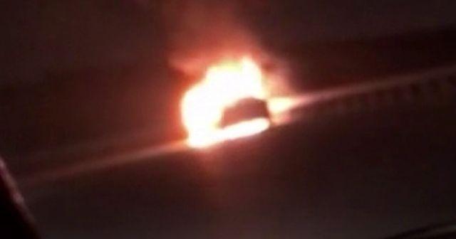 Kuzey Marmara Otoyolunda otomobil alev alev yandı