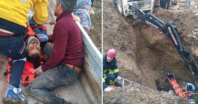 Toprak altında kalan işçiyi itfaiye ve köylüler kurtardı