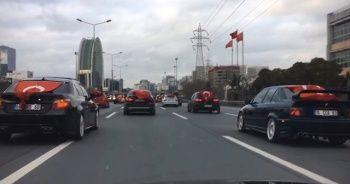 """İstanbul'da asker uğurlama konvoyunda """"drift"""" terörü"""