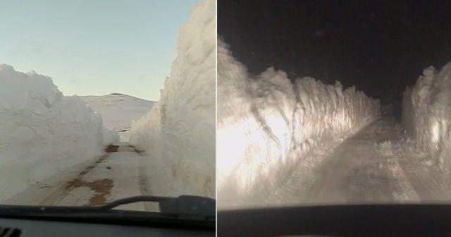 Kar kalınlığı 2 metreyi buldu! Kardan tüneller oluştu