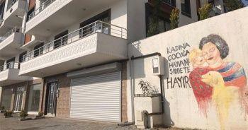 'Kadına, çocuğa ve hayvan şiddetine hayır' teması sokak duvarlarına işlendi