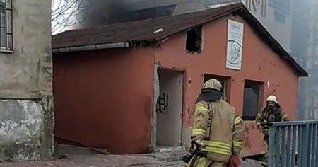 E-5 kenarında bulunan iş merkezinde yangın