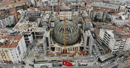 Taksim'de AKM'nin oditoryumu havadan görüntülendi