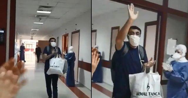 Diyarbakır'da korona virüsü yenen hasta alkışlarla taburcu edildi