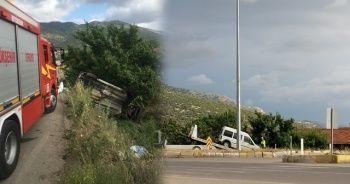 Hafif ticari araç şarampole devrildi: 2 yaralı