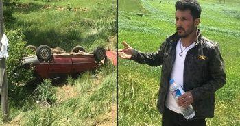 Otomobil şarampole uçtu, sürücü yaralı kurtuldu