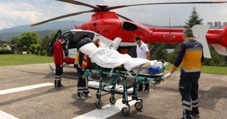 Doğum yapan kadın ambulans helikopterle Ankara'ya sevk edildi