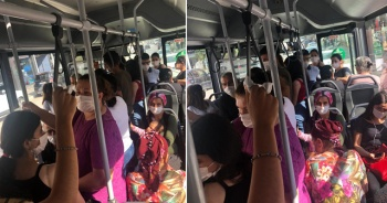 Bu görüntüler halk otobüsünde çekildi! Sosyal mesafe hiçe sayıldı