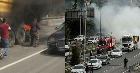 Haliç Köprüsü'nde araç yangını nedeniyle trafik yoğunlaştı
