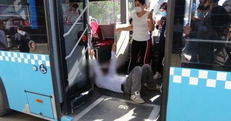 Korona şüphelisi, otobüsle hastaneye getirildi