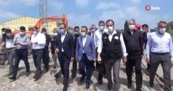 Bakan Kasapoğlu, patlama alanında incelemelerde bulundu