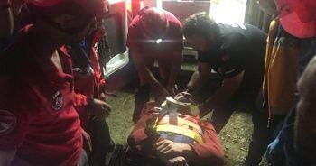 Mantar toplarken uçuruma yuvarlanan kişi kurtarıldı