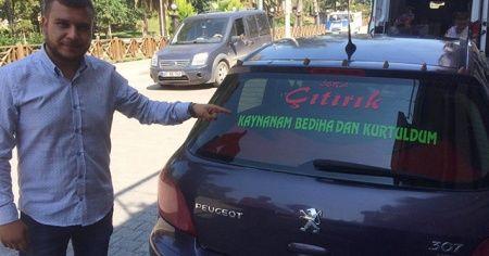 """Eşinden ayrıldı, otomobiline """"Kaynanam Bediha'dan kurtuldum"""" yazdırdı"""