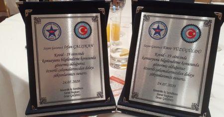 İHA'ya TGRT'ye pandemi sürecine gösterdikleri başarıdan dolayı ödül verildi