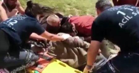Yaralı vatandaş askeri helikopterle hastaneye kaldırıldı