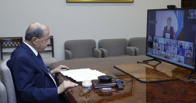 """Lübnan Cumhurbaşkanı Avn: """"Beyrut'un patlamanın öncesine dönmesi için büyük çabalar gerekiyor"""""""