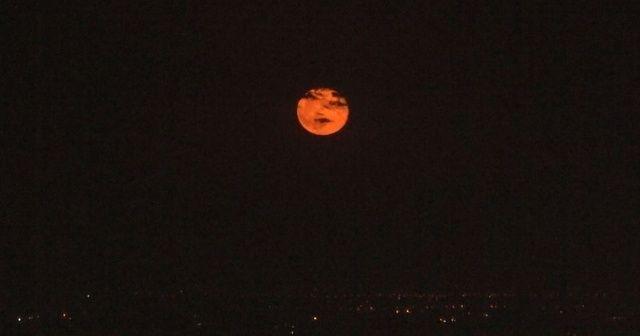 Şanlıurfa'da kızıldan altın sarısına dönen ay hayran bıraktı