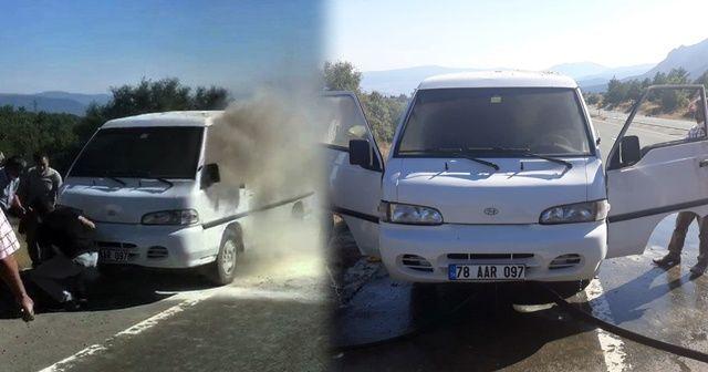 Seyir halindeki kamyonette çıkan yangına vatandaşlar müdahale etti