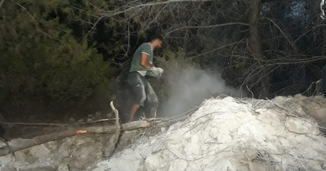 Suriyeli Hasan, orman yangınını avuçlarıyla taşıdığı kumla söndürmeye çalıştı