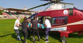 Ambulans helikopter, Kırklareli'de ağır yanık için havalandı