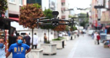 Bağcılar'da drone ile korona virüs uyarısı