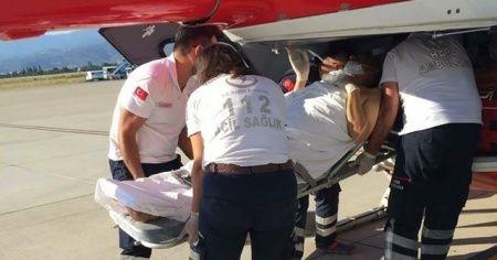Hastanın imdadına helikopter ambulans yetişti