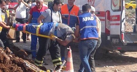 Kilis'te toprak altında kalan işçi ağır yaralandı