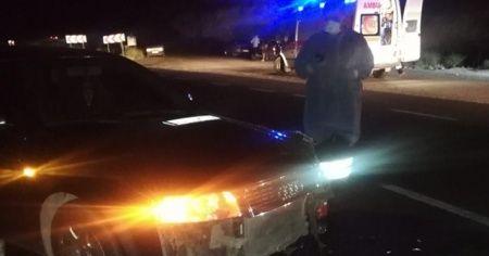 Otobüs ile çarpışan otomobilin sürücüsü yaralandı