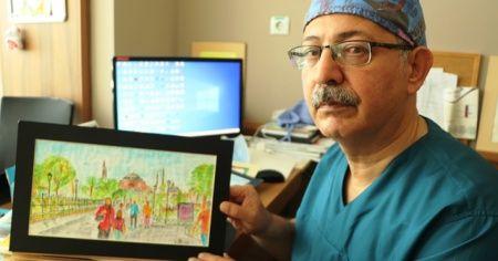 Ressam doktor herkesin takdirini topluyor